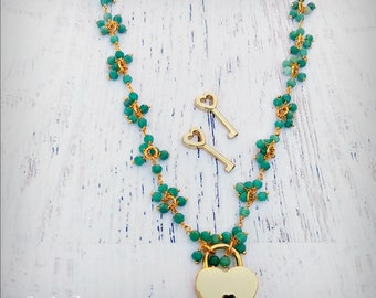 Cherished - Gemstone Emerald 24k Gold Discrete BDSM Collar - Day Collar - Working Lock & Key - Gemstone Collar - Locking Collar - OOAK