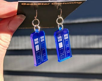 Tardis Lasercut Earrings, GeekStar Doctor Who Police Box Geek Jewelry