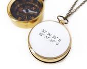 Custom Coordinates Necklace, Compass, Latitude Longitude, Graduation Gift, Paper Anniversary, Destination, Brass, Silver, Rose Gold