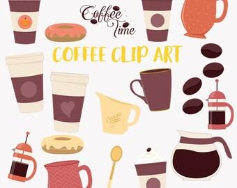 Coffee time clipart, coffee pot, latte, coffee break, cream, sugar, hot drink, coffee press, bodum, donuts, digital png clip art (LC36)