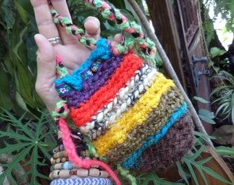 Crochet pouch, Hippie pouch, medicine bag,D79, crochet pouch necklace, medicine bag neckace, hippie festival,  festival bag, hippie crochet