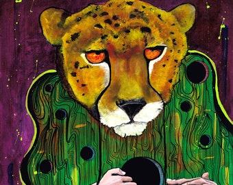 "Cheetah Print - ""Search Within"" - Surreal Art - Big Cat Painting - Trippy Art Print"