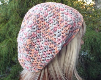 Slouchy Beanie, Womens Crochet Hat, Harvest Multicolor Slouch Beanie, Oversized Hipster Hat, Slouch Hat, Baggy Beanie, Boho Slouchy Hat