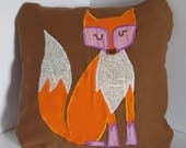 """Brown Pillow with Fox 12x12"""""""