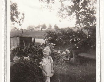 Original Vintage Photograph Snapshot Small Girl in Garden 1930