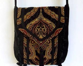 Tapestry Chenille Bag Black Velvet Bag  Boho Bag  Black Bag With Tassel and Tassel Fringe  Renaissance Bag
