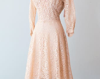 Vintage 1940s Dress - Mid 40s Blush Peach Lace Party Dress w/ Velvet Collar and Bracelet Length Sleeves by Paul Sachs // Waist 27