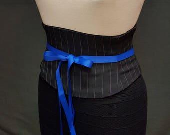 Black and White Pinstripe Corset Waist Cincher Obi Belt Any Size