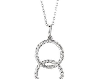 Circles Necklace, Interlocking Rope Pendant, Sterling Silver, 14k gold, Platinum