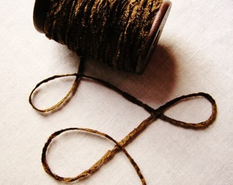Seal Brown rayon Chenille Ribbon on a Hand painted espresso wooden spool