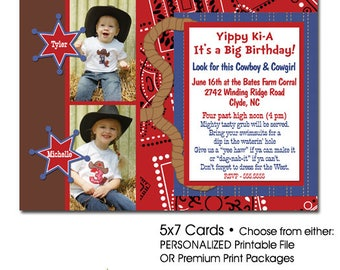 Double Birthday Party Invitations | Western Cowboy Double Birthday Invitation | Photo Birthday Invitation | Backyard Party | Printable