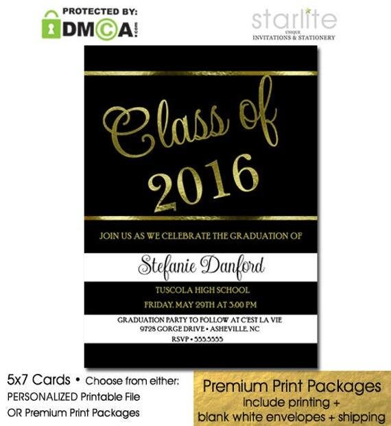black and gold graduation invitation graduation party invitation in