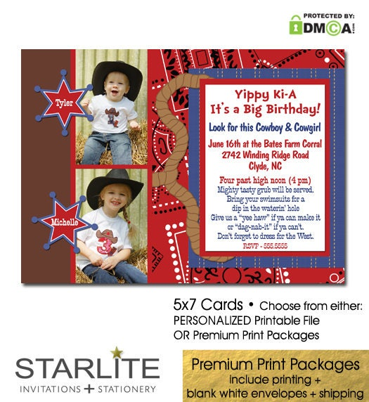western theme double birthday invitation with photos