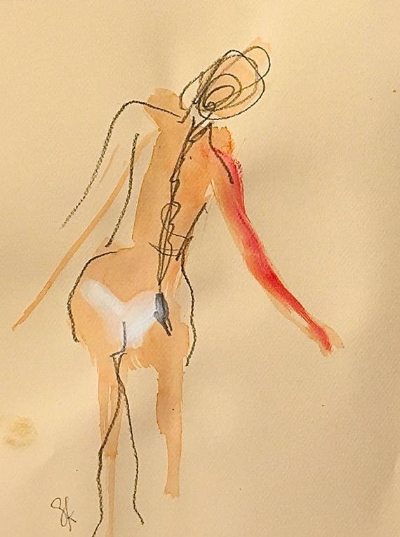 Nude painting of One minute pose 106.7 - Original nude painting by Gretchen Kelly