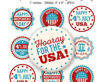 Independence Day Bottle Cap Sayings Digital Art Collage Set 1 Inch Circle 4th of July Tags - Instant Download - BC1176