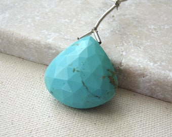 Large Sleeping Beauty Turquoise Faceted Heart Bead 22.25 x 22.25mm - Gemstone Focal Pendant