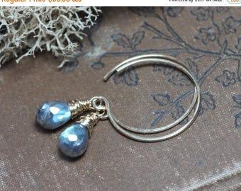 SALE Gold Hoop Earrings Labradorite Earrings Rustic Wire Wrapped Earrings 14k Gold Filled Earrings
