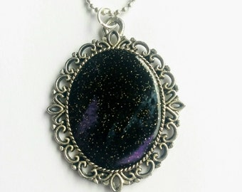 Ooak galaxy necklace - polymer clay- space necklace- galaxy jewelry