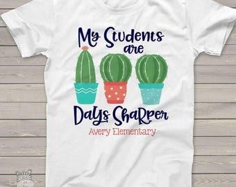 Teacher shirt - 100 Days sharper cactus one hundred day crew neck or vneck shirt   MSCL-131