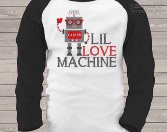 Valentine's Day personalized robot lil love machine kids raglan shirt snlv-021-r
