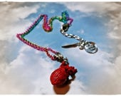 At the Rainbow's End- miniature 3d,  whimsical human (anatomical) heart pendant on a rainbow chain necklace by WiLd PeArLy