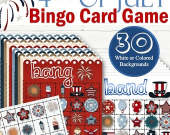 30 July 4th Bingo Cards - INSTANT DOWNLOAD