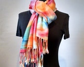 Multi-Colored Pashmina Wrap With Fringe, Handpainted Pashmina/Silk Wrap, Abstract Wrap, Large Scarf, 22x68 in., Womens Wrap, LIMITED EDITION