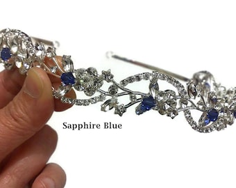 Something Blue Bridal Crown, Sapphire Blue Wedding Tiara, Crystal Tiara, Vines Tiara, Floral Wedding Crown, Bridal Halo, Gift for Her ADORNA