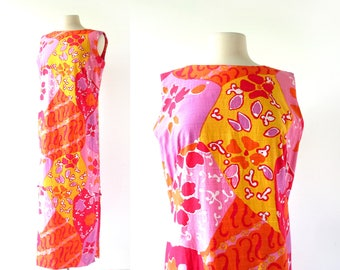 1960s Hawaiian Dress | Sleeveless Maxi Dress | 60s Dress | McInerny | M L