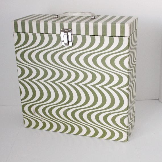 Vintage LP Record Storage Box by Platter Pak, Psychedelic Green White Wave