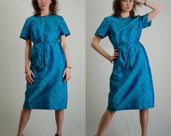 Block Print Dress Vintage 60s Teal Blue Block Print Tailored Belted Day Dress (s m)