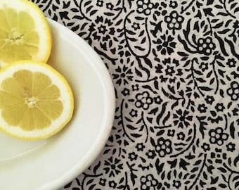 Block Print Fabric from India - Cotton by the Yard - Black and White Floral Print