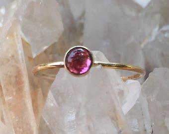 Pink Tourmaline and 14k Gold Ring, Alternative Engagement, October Birthstone Ring, Stacking 14k Ring