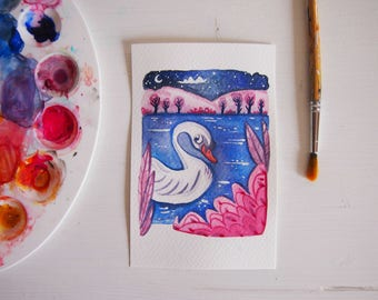 Original watercolor postcard, the swan in the lake, original illustration watercolor.