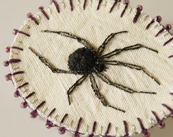 Embroidered Stumpwork Black Widow Spider Brooch Arachnida Jewelry Natural History Wildlife Art Nature Lover Arachnophile Gift