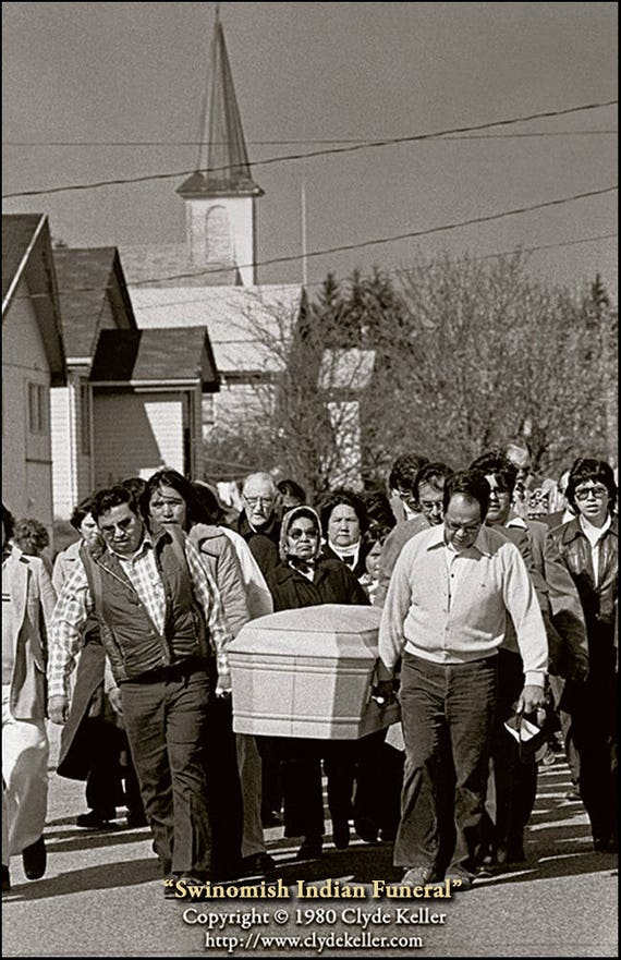 Skagit Valley, SWINOMISH INDIAN FUNERAL, Clyde Keller photo, 1980