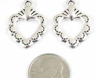 TierraCast Pewter Pendants-Silver Open Sacred Heart 17x24mm (2 Pieces)
