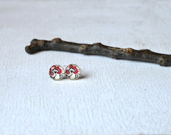 Asian Flower Studs- Glass Titanium Studs- Red and Black Earrings- Hypoallergenic- Flower Earrings- Glass Round Earring Posts- Asian Jewelry