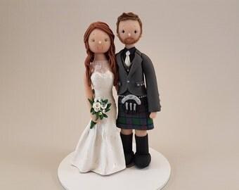 Bride & Groom Custom Handmade Scottish Wedding Cake Topper