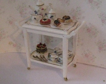 dollhouse Serving cart, cake trolley, serving trolley, Tea trolley, miniature cart, tatty chic white, white, wine cart. twelfth scale