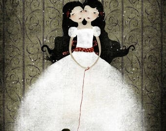 50% Off - Summer SALE - The Siamese Sisters - open edition print