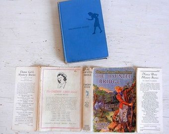 1937 Nancy Drew Book #15 | The Haunted Bridge | Dust Jacket | Blue Silhouette Endpapers | Carolyn Keene | Revised Blue Silhouette Cover