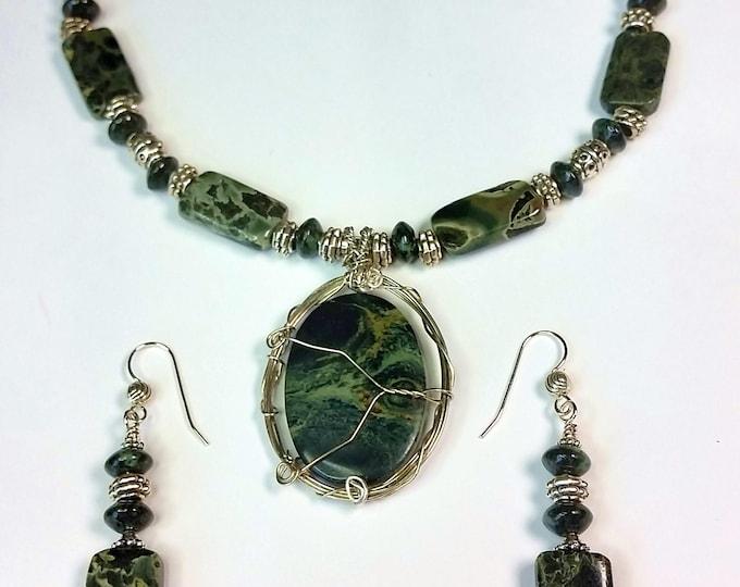 Kambaba Jasper Pendant Set with Green and Black Swirl Patterns
