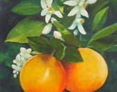 RESERVED FOR JETTAJOURNEY: Orange Blossom Special, 8x10 Oil Painting on Canvas Panel