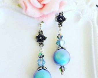 SALE 20% Off Pearl Earrings - Blue - Summer Earrings - Dangle - NIGHT SONG Blue