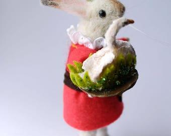 An Original Needle Felted Rabbit with Spun Cotton  Swan Sugar Confection