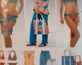 Newlook 6357 Misses Beach Wardrobe Misses Swimsuit Pattern Wrap Skirt Tunic Top Beach Pants and Tote  Misses Size 6 to 16