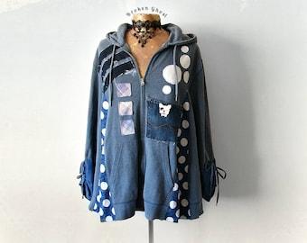 Plus Size Hoodie Upcycled Jacket Women Art Clothes Funky Clothing Blue Hooded Top Denim Recycle Loose Hoodie Grunge Sweatshirt 2X 'JORDAN'