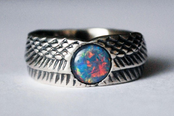 Sterling Silver and Opal Winged Disk Ring