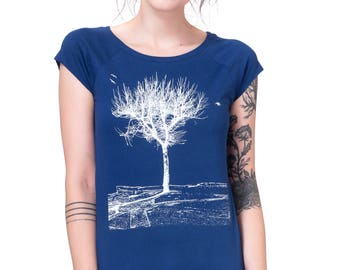 "Woman organic fairtrade-shirt ""plane"" dark blue"